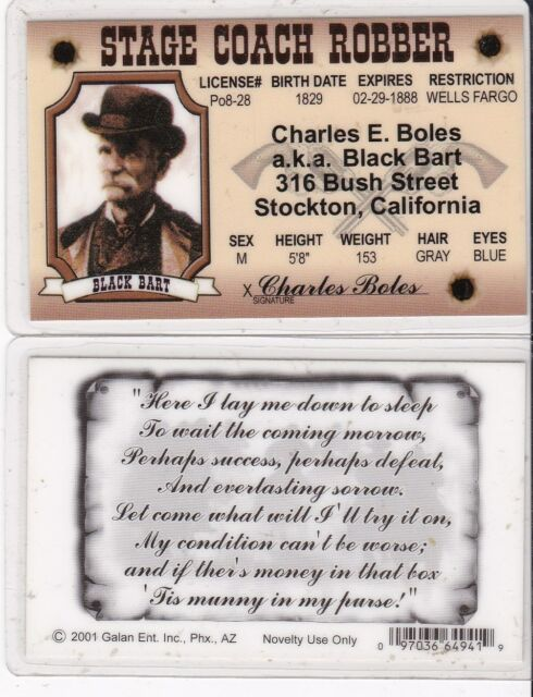 Black Bart STage Coach Robber Stockton California Drivers License fake id  card