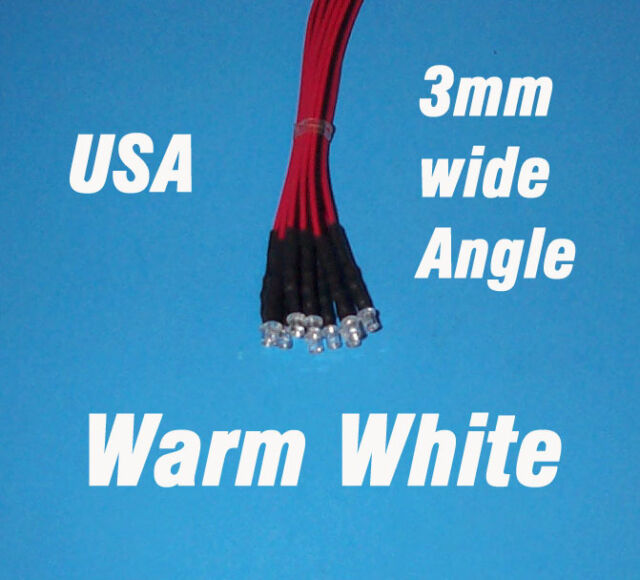 10 LEDs - 3mm PRE WIRED LED 12 VOLT WIDE ANGLE WARM WHITE 12V DC WW