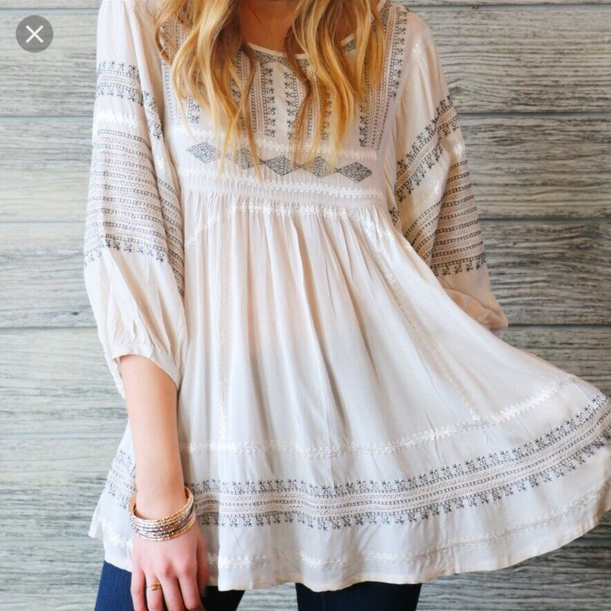 NWOT Free People wild one Embroiderot top Retail