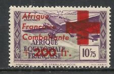 French Equatorial Africa stamps 1943 YV Airmail 29 ovpt ERROR  RED CROSS   MNH