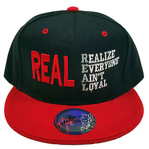 5ca8416b79e Details about REAL (REALIZE EVERYONE AIN T LOYAL) Embroidered Black Red Snapback  Cap