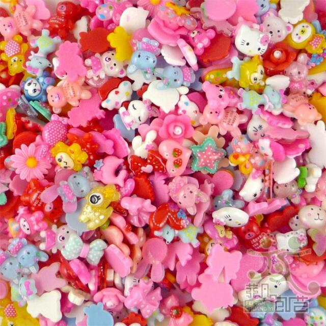 50pcs Mixed Resin Cabochon Flatback Flower Heart Cartoon Craft Decoration 20MM