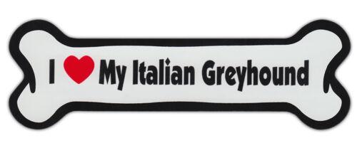 Dog Bone Shaped Car Magnets I LOVE MY ITALIAN GREYHOUND GRAYHOUND