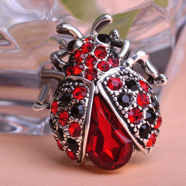 Stylish Jewelry Insects Beetle Ruby Crystal Brooches Bouquet Antique BroochPin n