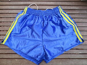 VINTAGE-Short-NYLON-bleu-polyamide-shiny-brillant-made-France-95-annees-80-sport