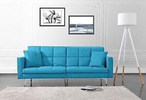 Details about Modern Plush Tufted Splitback Living Room Small Space Futon  Sofa, Sky Blue