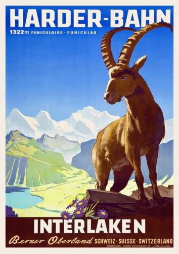 Vintage Swiss Travel Poster Harder-Bahn 1930s Alps Mountains Goat Interlaken