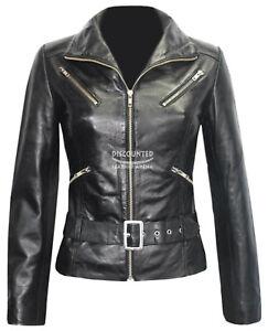 100 Ladies Lambskin Jakke Fashion Real Black Læder Biker Style 7390 qYS6qU4