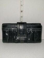 FOSSIL ELLA Black Genuine Leather Zipper Top Wallet Women/'s Clutch New NWT $70