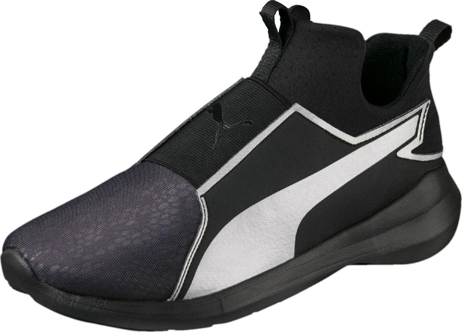 NEU PUMA REBEL MID WOMEN'S SUMMER TRAINERS RUNNING Schuhe BLACK SILVER 364580 01