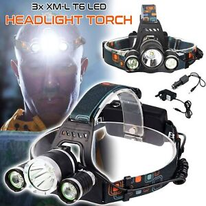 6000-LM-Lumens-3-x-XML-CREE-T6-LED-Rechargeable-Head-Torch-Headlamp-Lamp-Light