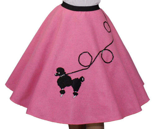 """3-Pc Hot Pink Poodle Skirt Outfit /_ Adult Size LARGE /_ Waist 35/"""" 41/"""""""