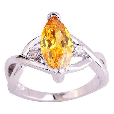 Marquise Cut Emerald Quartz White Topaz Gemstone Silver Ring Size 6 7 8 9 10 11