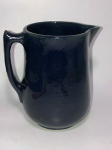 Vintage-Farmhouse-Primitive-Stoneware-Pottery-Dark-Blue-Cobalt-Glaze-Pitcher