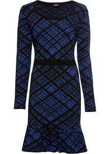 Kariertes Strickkleid Gr 52/54 Schwarz Blau Mini-Kleid ...
