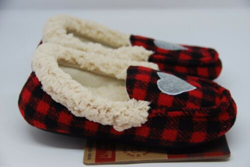 Details about  /Girl/'s Dearfoam Red Plaid Slippers 3 Sizes
