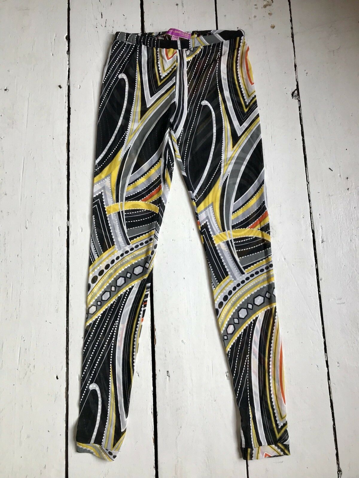 New Abstract Printed Mesh Leggings DADDY LONG LEGS LONDON Size XS