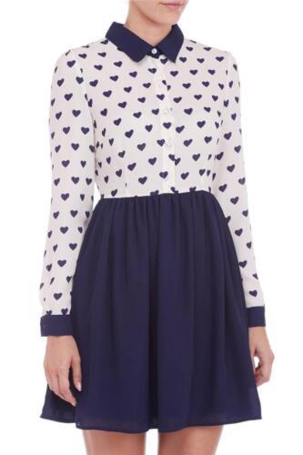 Dress di 12 8 e Boutique blu stampa camicia rosa Love Sugarhill Top con cuore Xqd4xT