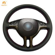 Soft Black Genuine Leather Steering Wheel Cover Wrap for BMW E39 E46 325i E53 X5