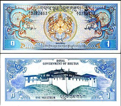 BHUTAN 1 NGULTRUM 1981 P 5 UNC