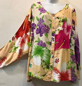 hawaïens floraux Boutons en rayures gratuit Blouse Shippin 5x de Raglan haut Patch à fantaisie boutons XOkP0w8n