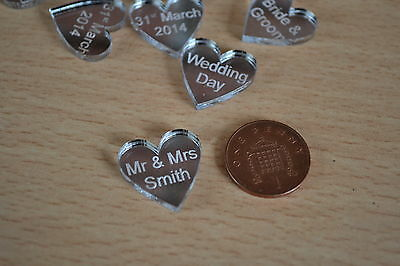 50 personalised Love Hearts Mr & Mrs table confetti wedding favours  decorations