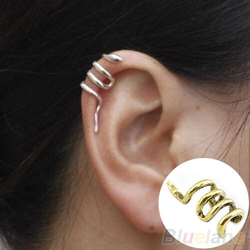 Women Fashion Unique Mini Snake Shape Cuff Wrap Ear Clip Punk Earring Jewelry