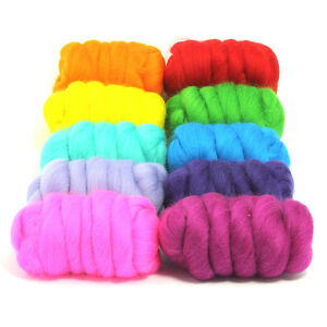 Beautiful-Brights-10-Colours-Dyed-Merino-Wool-Top-Felting-Roving-250g