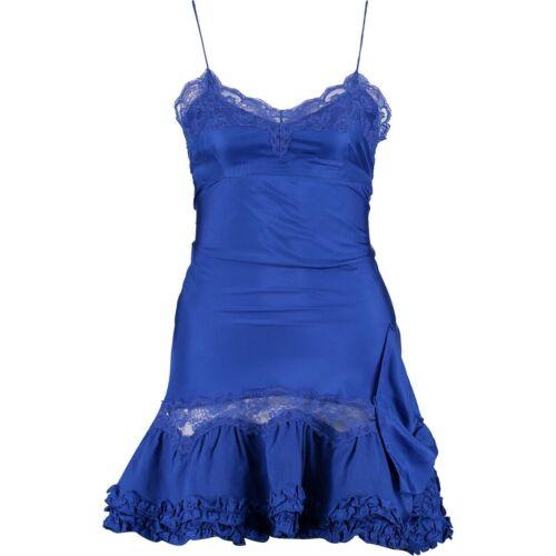 Genuine Chemise Designer Blue Dress Size Manoush Silk Ruffle Medium UxrAqUwI