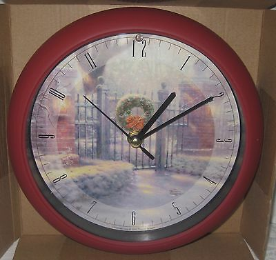 Thomas Kinkade Christmas Gate Clock 12 Musical Carols Light Sensor NIB Collect