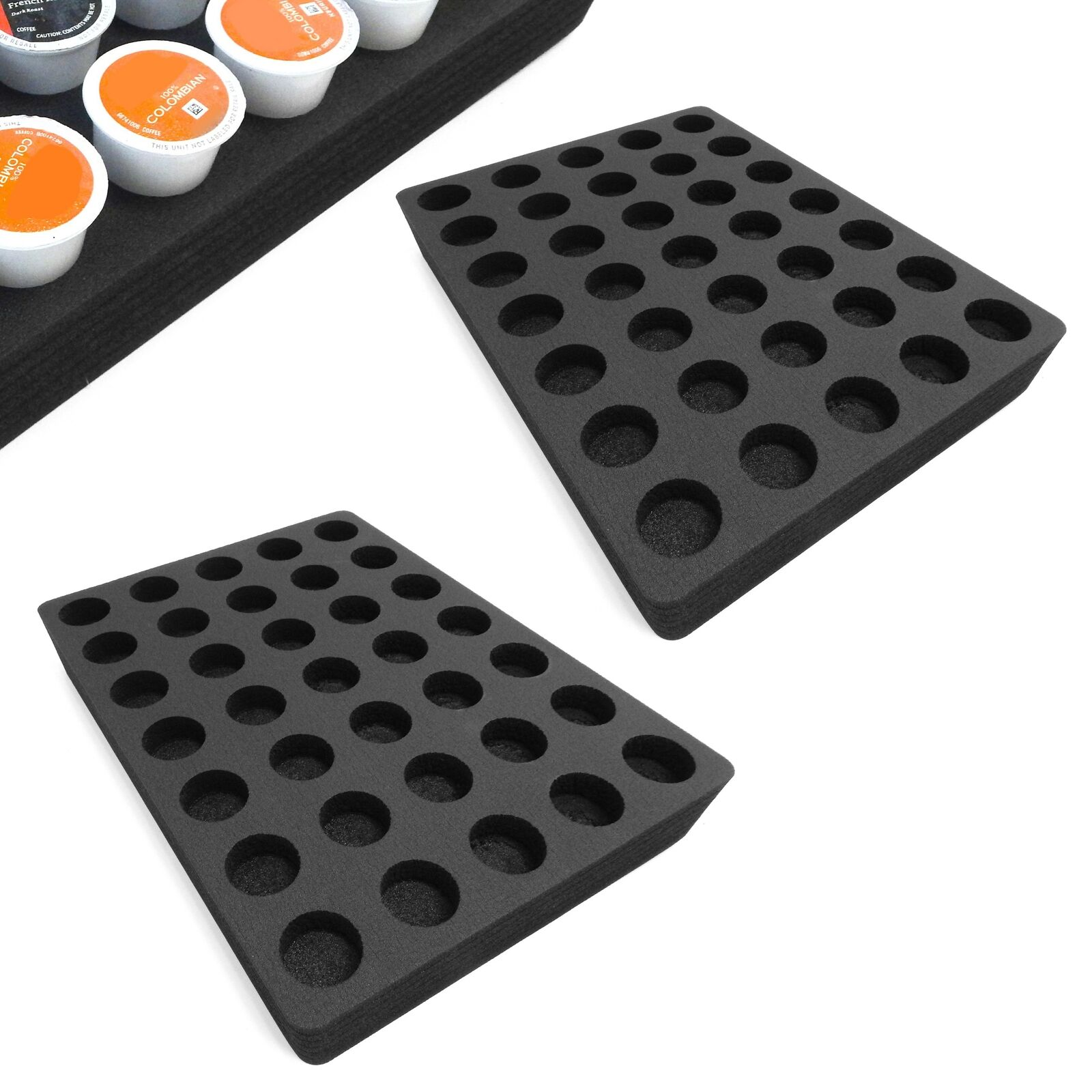 2 Coffee Pod Organizer Drawer Insert Fits Keurig K-Cup 35 Slot 11.9  x 15.9