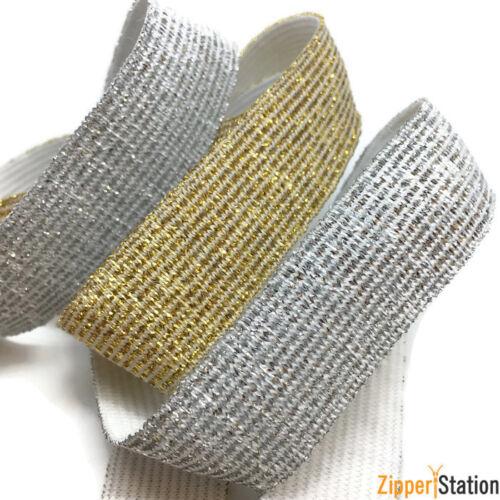 15-40mm Suave brillo metálico pliegue sobre Elástico-oro y plata-diademas