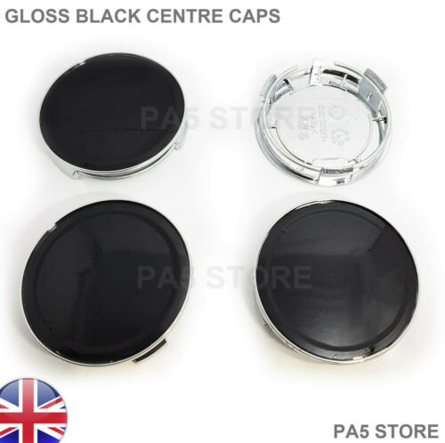 4x Gloss Black TAPPI CENTRO RUOTA 75mm per MERCEDES C E Clk S Cl Classe AMG UK