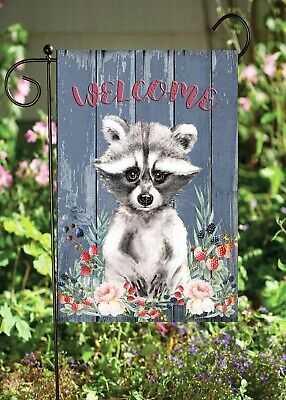 Welcome Raccoon   Double Sided Soft Flag  **GARDEN SIZE**   FG1370