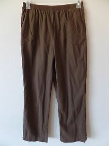 Alfred Dunner Womens 10 Cotton Lyocell Brown Pull On Elastic Waist Pants GUC