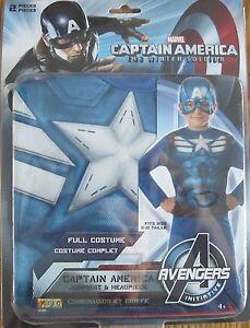 Captain Amercia Winter Soldier Costume Marvel Comics Size Medium 8-10 New
