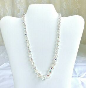 Vintage-Aurora-Borealis-Crystal-Faceted-Bead-necklace-w-sterling-fishhook-clasp