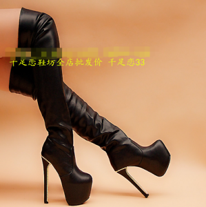 Black-Womens-Shoes-High-Heels-Pu-Leather-Over-Knee-Boots-Platform-Side-Zip-Boot