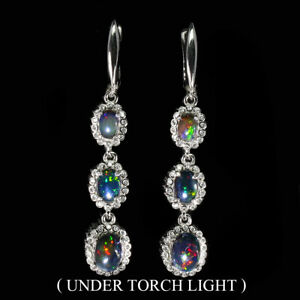 Oval-Black-Opal-8x6mm-Cz-14K-White-Gold-Plate-925-Sterling-Silver-Earrings