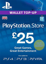 UK £25 PLAYSTATION NETWORK Prepaid Card GBP PSN for PS3 PS 4 PSP Code Key