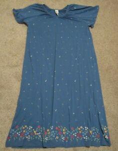 Details about Womens Roaman\'s Blue Flowered V Neck MuuMuu Maxi Dress Short  Sleeve Plus Size M