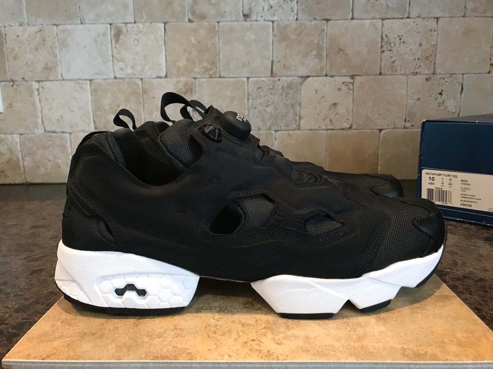 Reebok Instapump FURY OG Zapatos para hombre V65750 Negro-blancoo Slip On