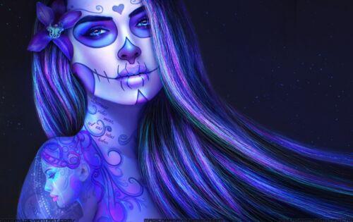 Résumé crâne Femmes-coloré tatouage visage cheveux violet poster//toile photo