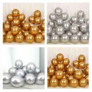 10-100-X-12-034-GOLD-SILVER-CHROME-BALLOONS-METALLIC-LATEX-PEARL-Helium-Birthday