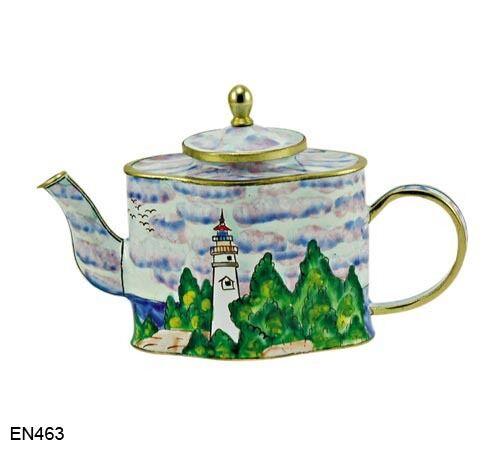 KELVIN CHEN Enamel Copper Hand Paint Miniature Teapot Lighthouse