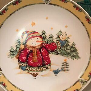 Gibson-Dinnerware-2003-Snowman-Frolic-Dinner-Plates-Set-Of-Six