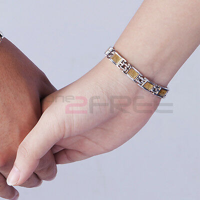 Power Ionics 8mm Woman Titanium Germanium BallsGold Carbon Fiber Bracelet Wrist