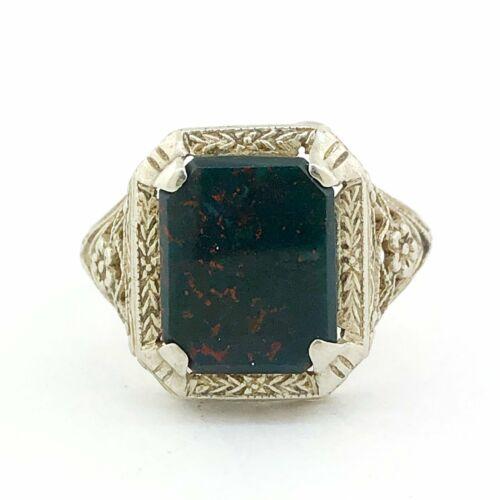 Estate 14kwg Antique Bloodstone Signet Ring