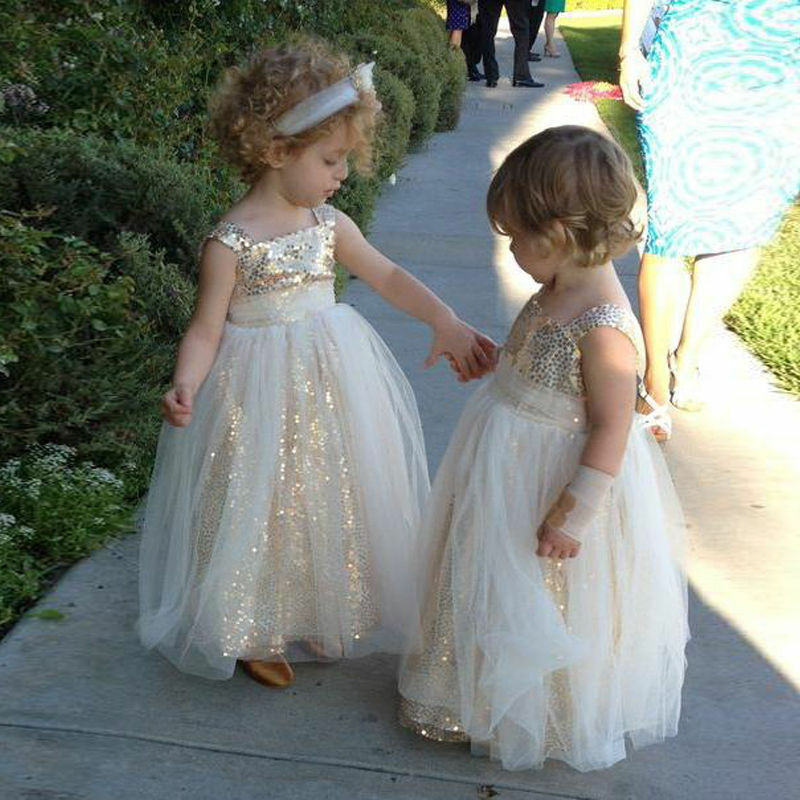 Gold Sequined Flower Girl Dress Tulle Pageant Party Formal Wedding Gowns Custom
