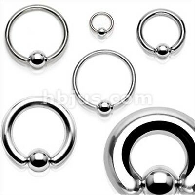 Ear Ring Gauges Captive Bead Black Spring Action Easy Pop Out Surgical Steel